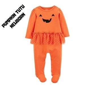 Baby Girls' Pumpkin Tutu Sleep N' Play Newborn